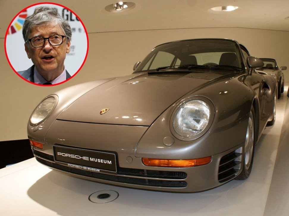 Bill Gates and a 1988 Porsche 959 – the make of one of the cars he owns. Photos: Reuters/Wikimedia