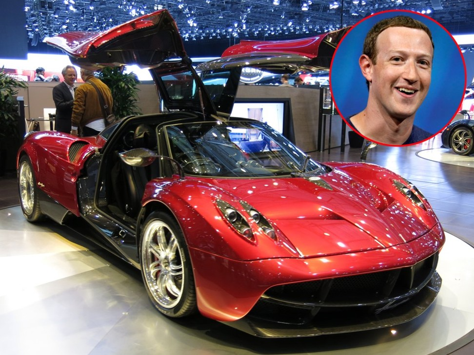 Mark Zuckerberg and a Pagani Huayra – the make of car he is known to have bought. Photo: Reuters/Wikimedia
