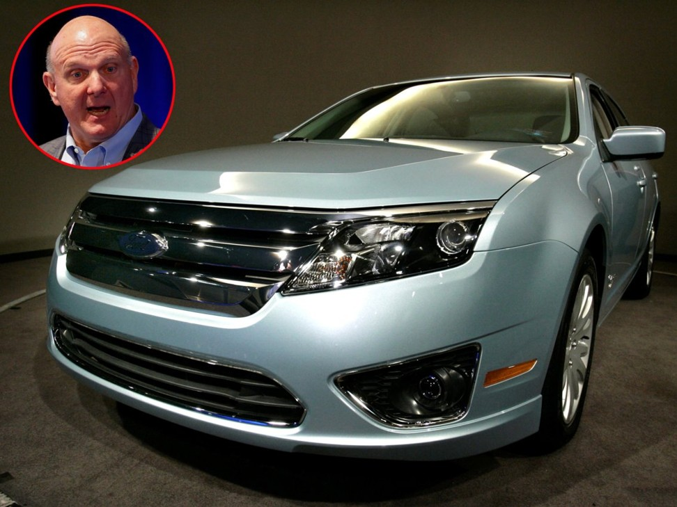 Steve Ballmer and a 2010 Ford Fusion Hybrid – the car he is known to use. Photos: Reuters/ Associated Press