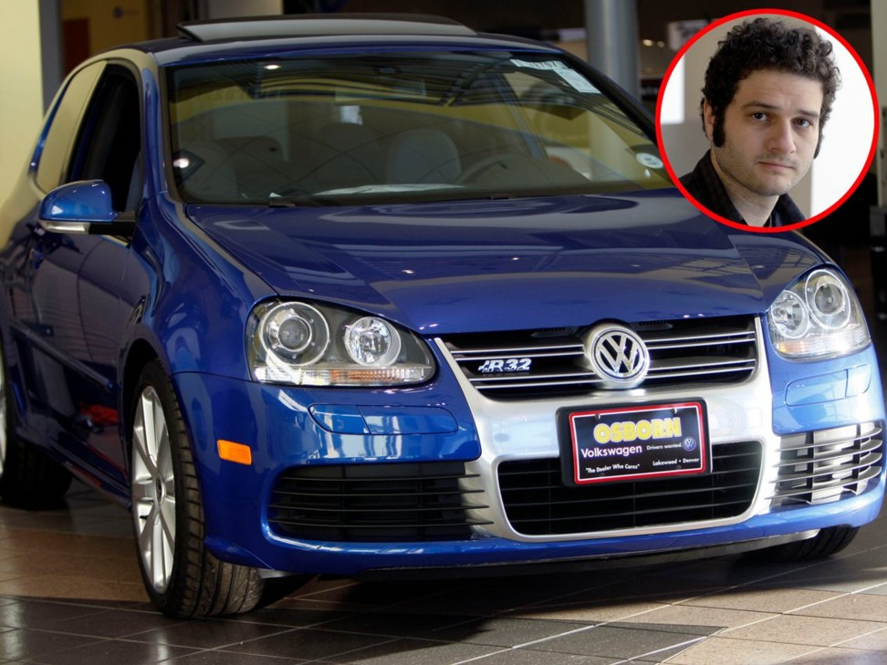 Dustin Moskovitz and a Volkswagen R32 – the same make of car he once owned. Photos: Associated Press