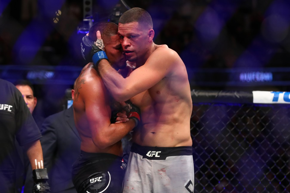 Nate Diaz and Anthony Pettis show sportsmanship after their fight. Photo: AFP
