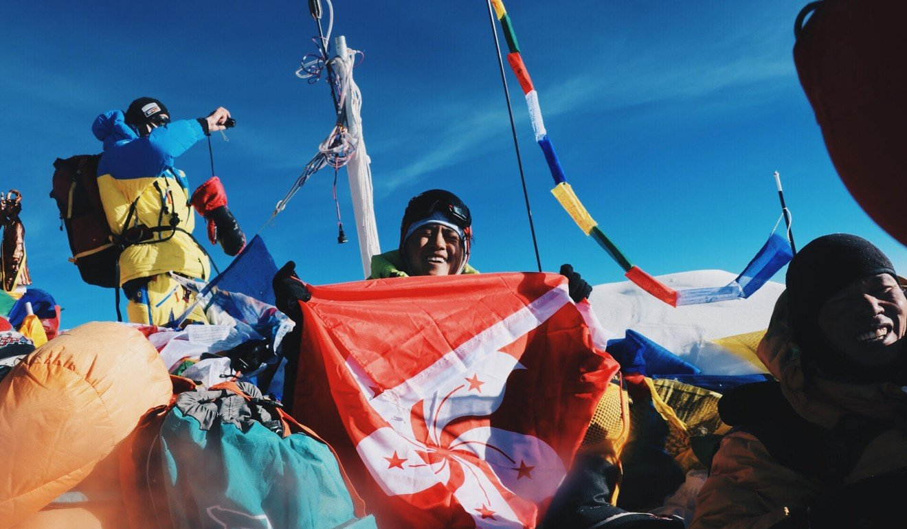 Chan summits Mount Everest becoming the youngest Hongkonger to reach the peak. Photo: Benjamin Chan