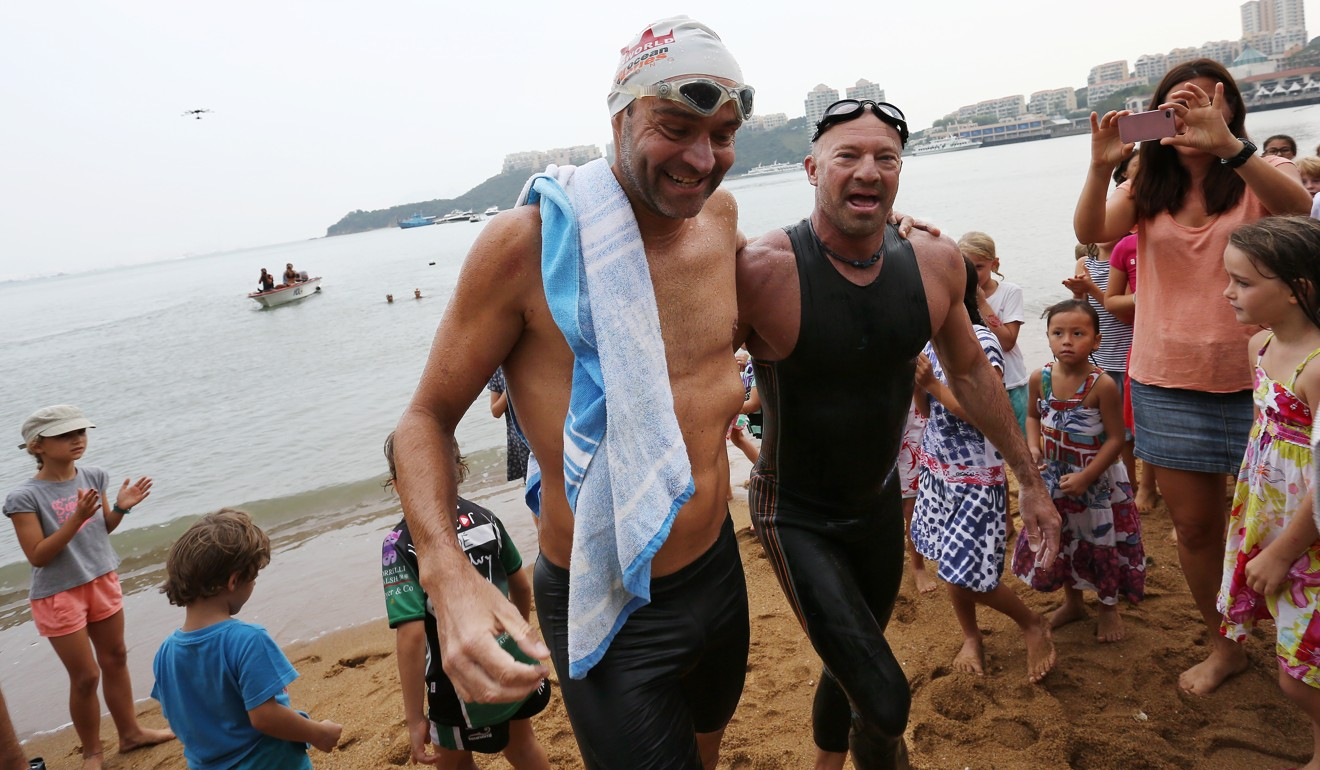 Olivier Baillet (left) and Bruce Pye in Discovery Bay after the 75km Round Lantau Island Swim Challenge. Hong Kong's open waters and many trails make it prime territory for Swimrun. Photo: SCMP