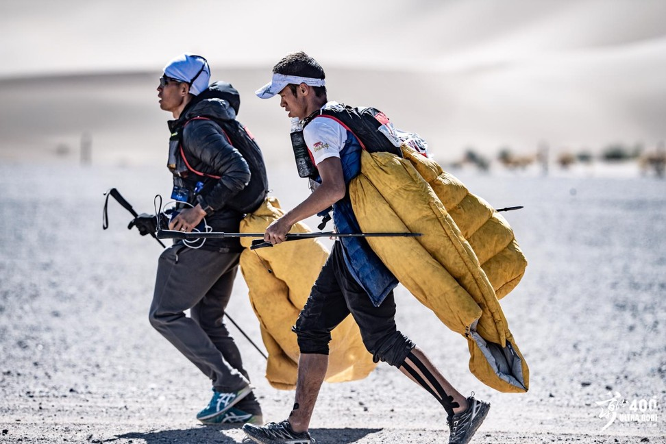 Liang Jing battles Zhao Jiaju on the 400km Ultra Gobi. Photo: Ocean Visuals