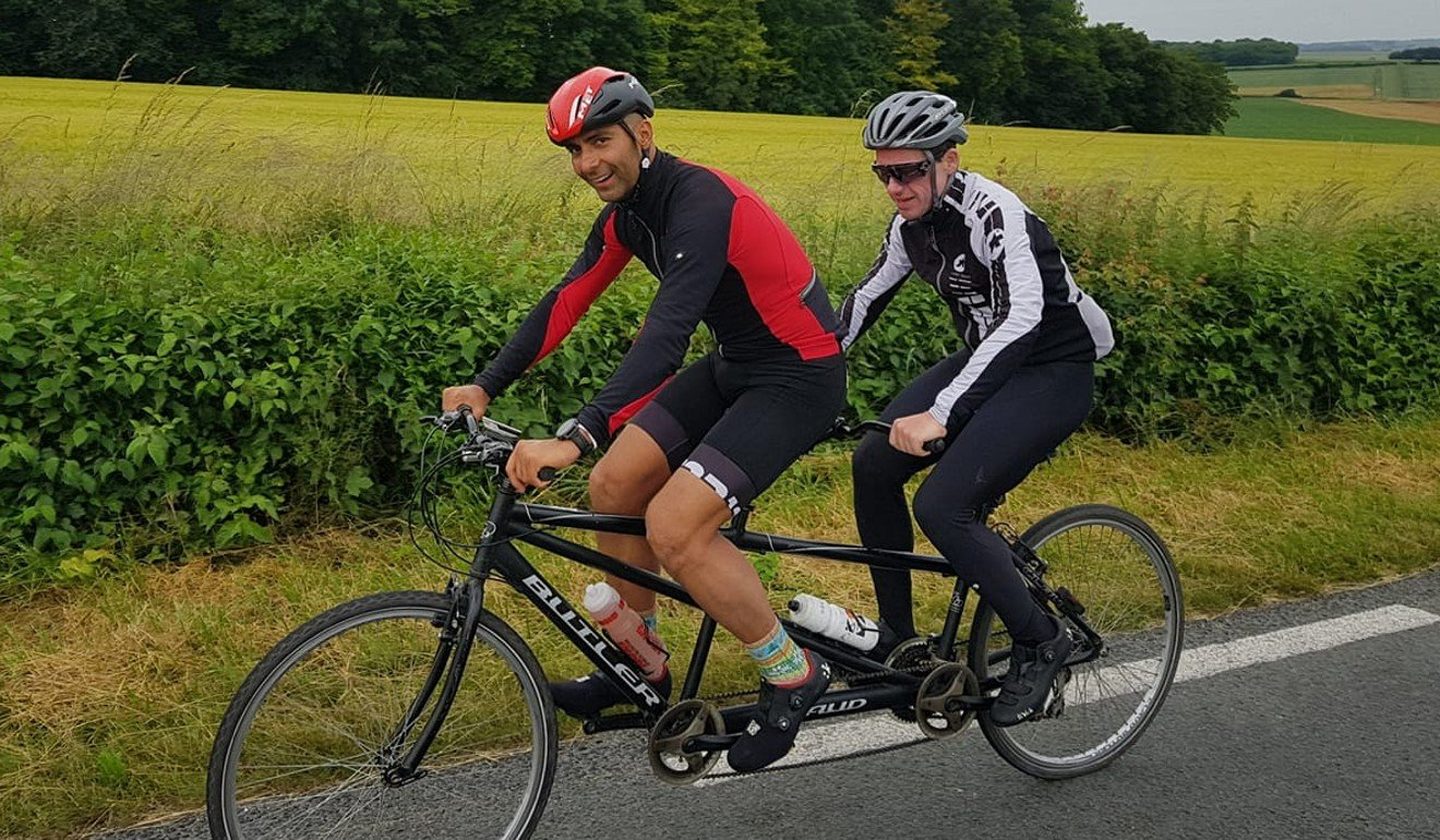 Mayank Vaid and David Gething ride a tandem to Paris during Vaid's first Arch 2 Arc. Photo: Handout