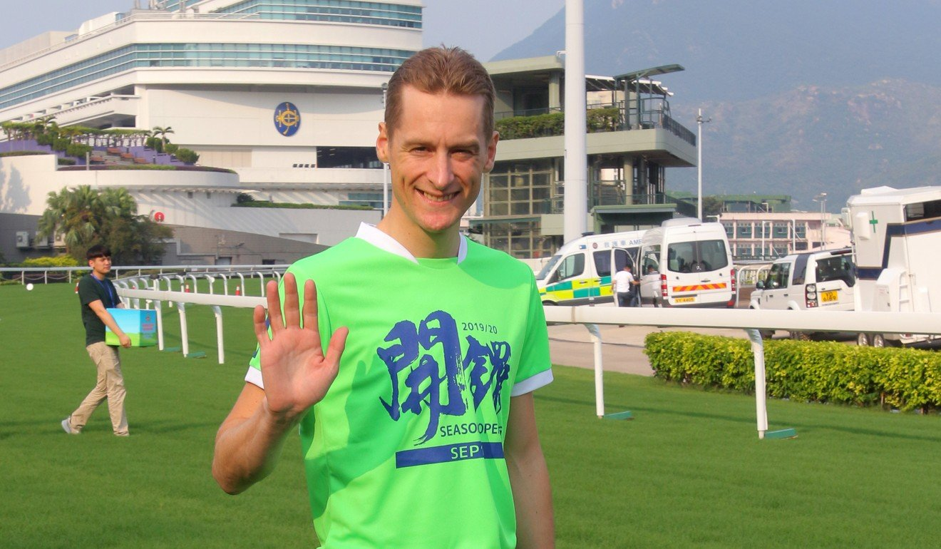 Blake Shinn heads out to compete in the annual jockeys' sprint at Sha Tin on Saturday.