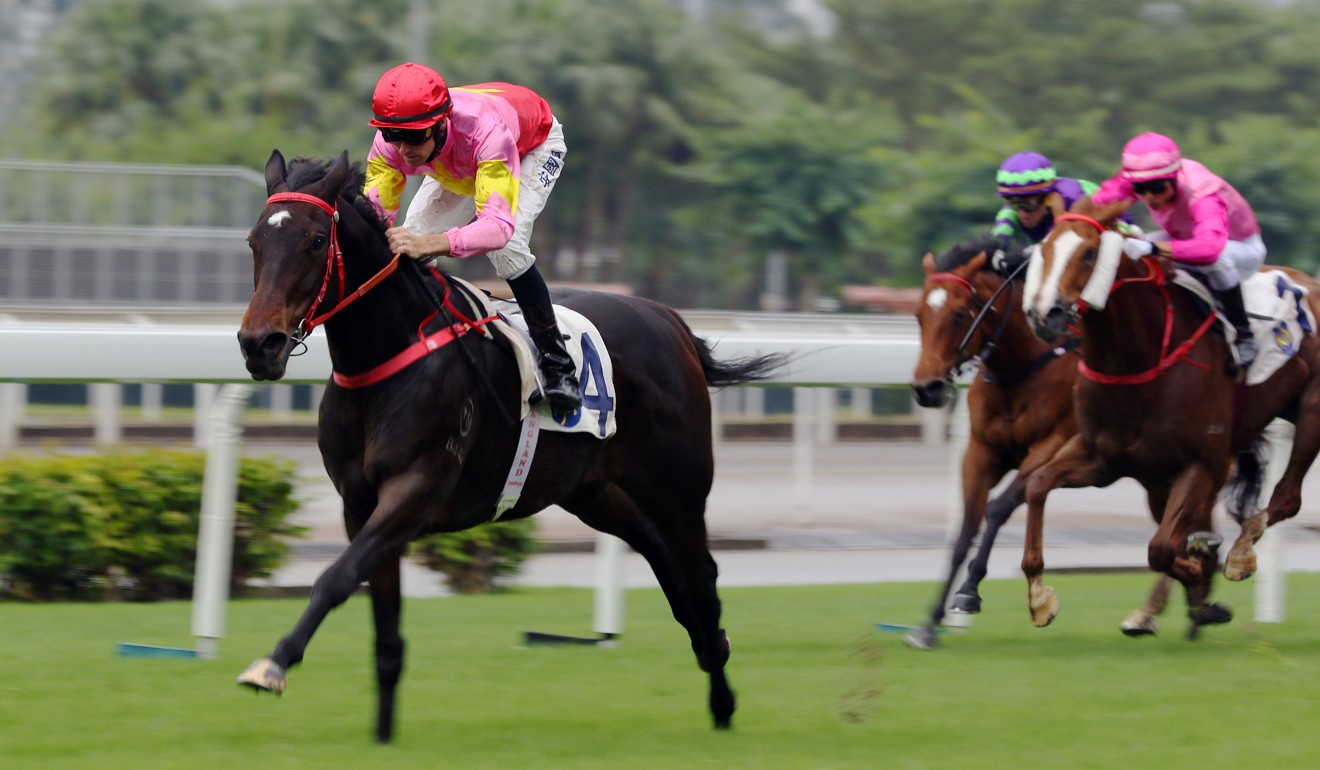 Tye Angland races clear on Follow Me at Sha Tin.