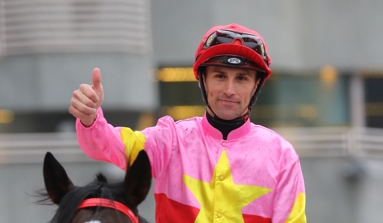 Tye Angland salutes after winning on Follow Me at Sha Tin last November.