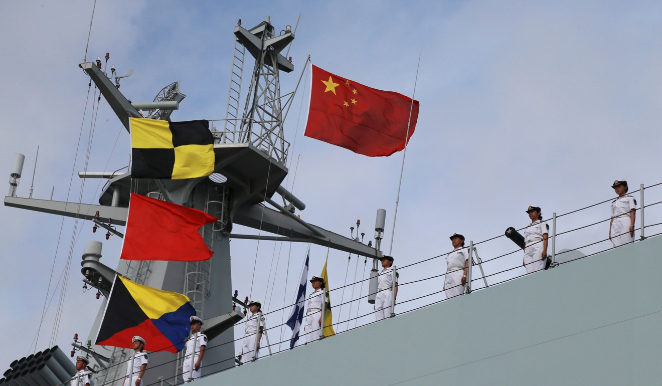 PLA soldiers stand on a ship sailing off from a military port in Zhanjiang for Djibouti in 2017. Photo: Reuters