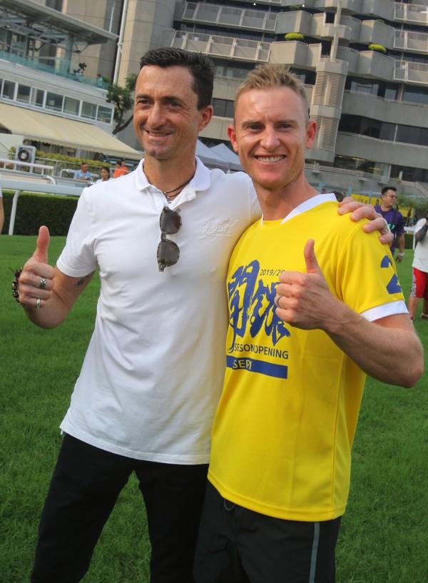 Trainer Douglas Whyte and jockey Zac Purton at the preseason carnival.