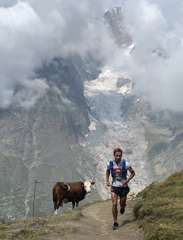 Wong training in the Aalps before the UTMB. Photo: The North Face Adventure Team