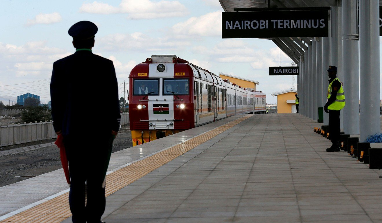 A train arrives at the Nairobi Terminus on the outskirts of Kenya's capital on the China-financed Standard Gauge Railway line. Photo: Reuters