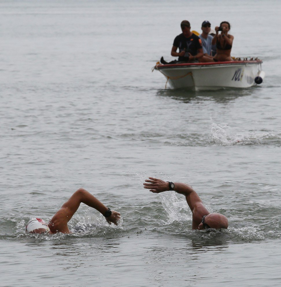 Olivier Baillet (Left) and Bruce Pye (Right), swim around Lantau Island. Years of patient training enabled the feat, no short cuts. Photo: SCMP