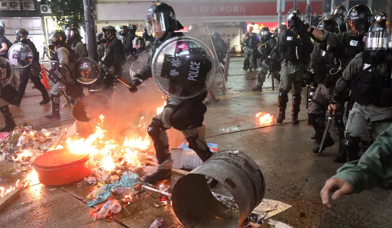 Petrol bombs were used against police in clashes that have increasingly turned violent. Photo: Felix Wong