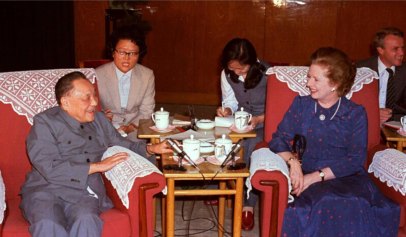 Chinese leader Deng Xiaoping with British Prime Minister Margaret Thatcher in 1984, during one of their meetings leading up to the signing of the Sino-British Joint Declaration on the future of Hong Kong. Photo: AFP