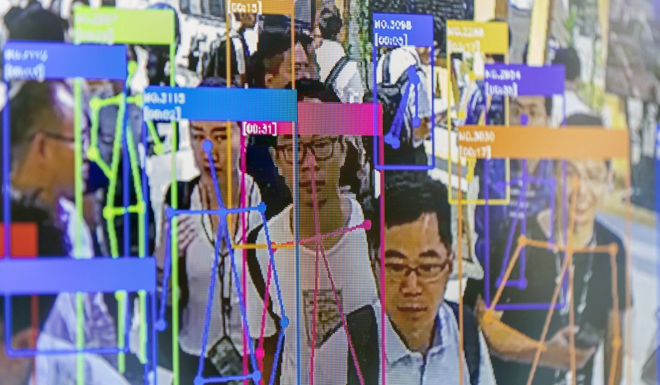 A screen shows facial-recognition technology at the World Artificial Intelligence Conference in Shanghai. Photo: Bloomberg