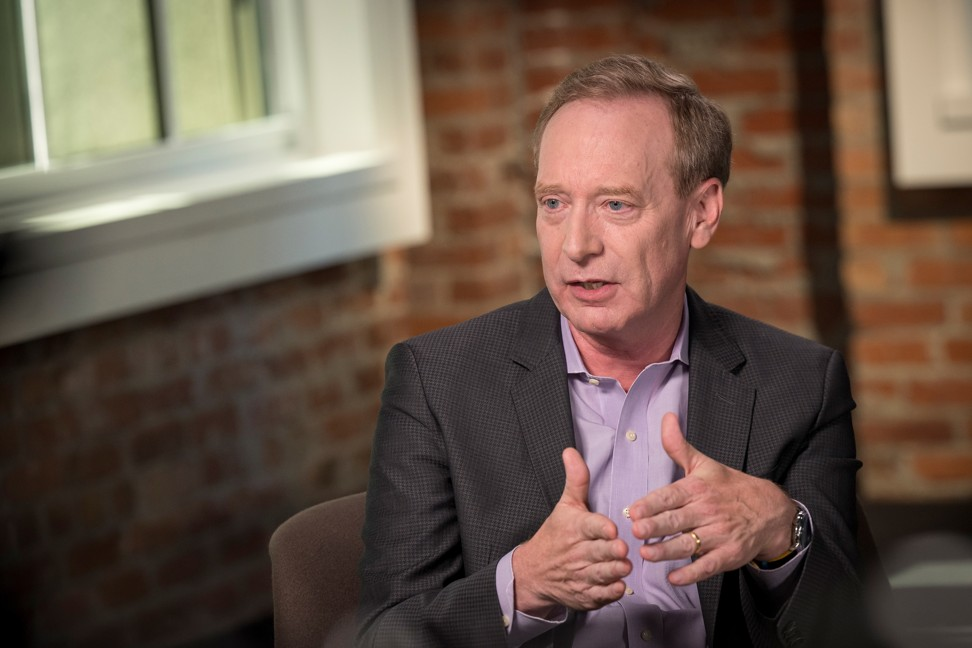 Brad Smith, president of Microsoft Corp, speaks during a Bloomberg Studio 1.0 television interview in San Francisco, California, on September 4. Photo: Bloomberg