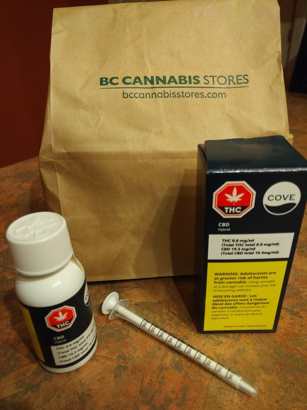 CBD oil bought from the BC Cannabis store. Photo: Patrick Blennerhassett