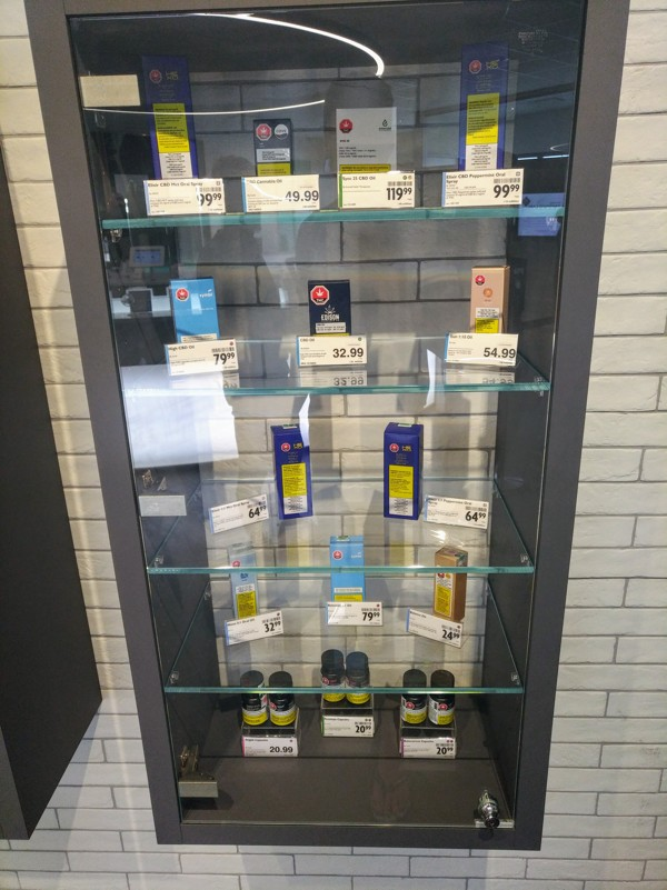 Various CBD oil products available at the BC Cannabis store in Kamloops, British Columbia. Photo: Patrick Blennerhassett
