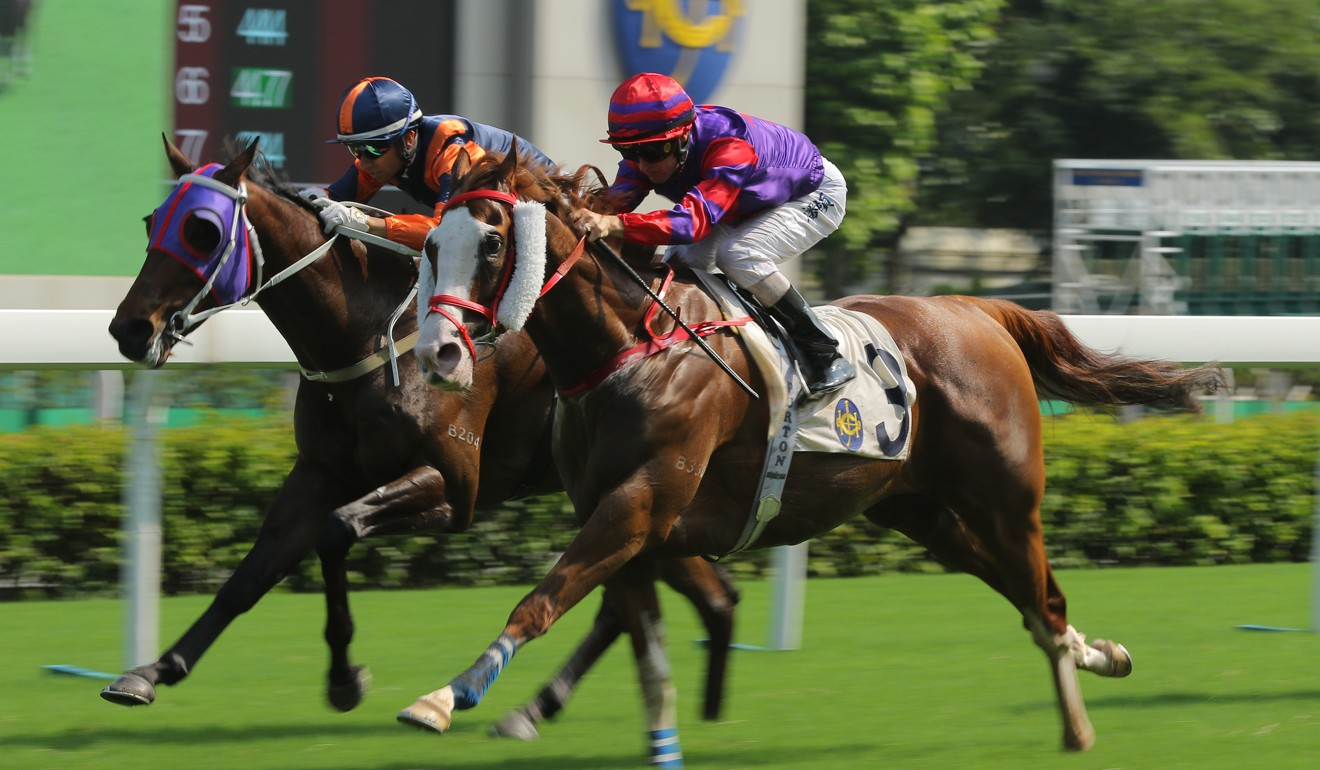 Solomon's Bay motors down the middle of the track to win at Sha Tin on Sunday.