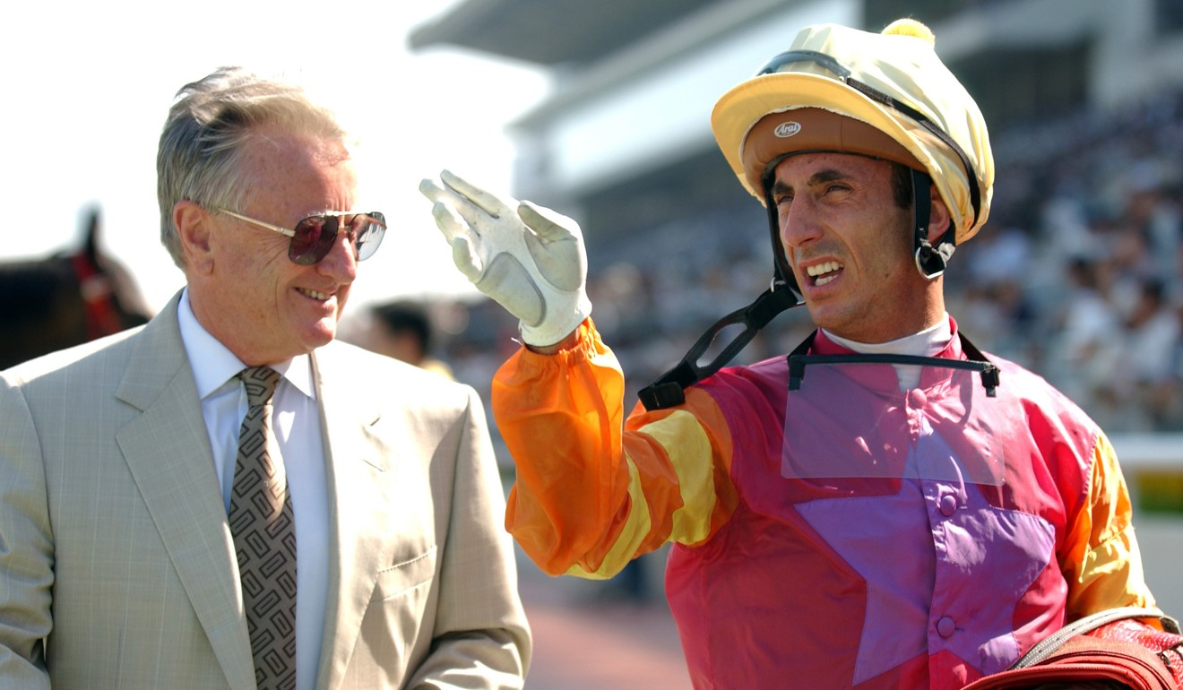 Trainer Geoff Lane and jockey Olivier Doleuze after a win at Sha Tin in 2004.