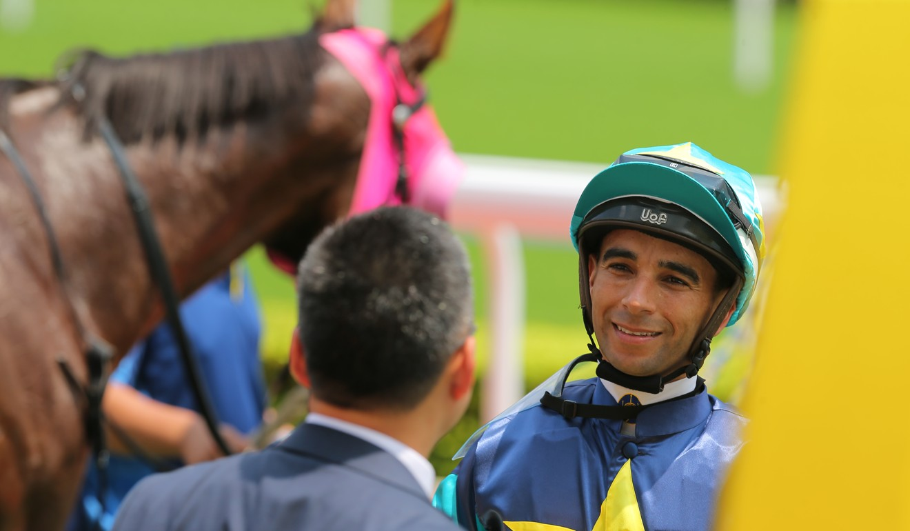 Joao Moreira chats to trainer Francis Lui after a winner earlier this month.