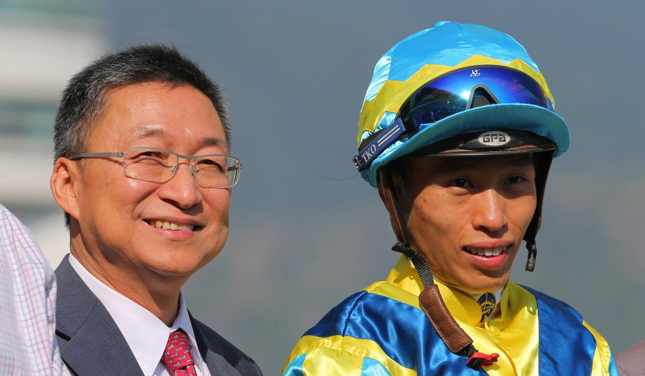 Francis Lui (left) and Vincent Ho celebrate their winner at Sha Tin on Saturday. Photo: Kenneth Chan
