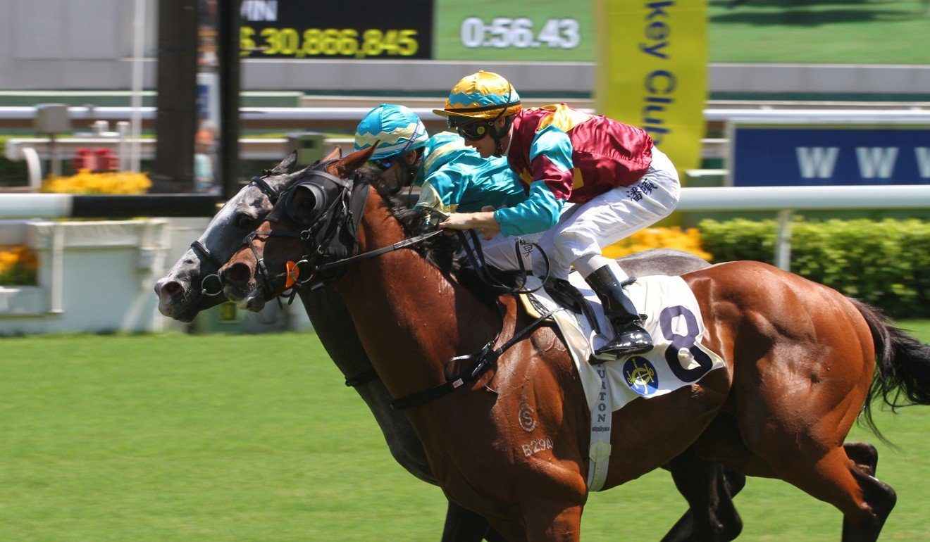 Meridian Genius (inside) gets up on the line to win at Sha Tin on Saturday.