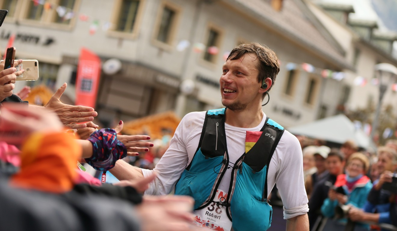 Robert Hajnal approaching the finish of UTMB, proving he is built for the brutal cold days. Photo: UTMB