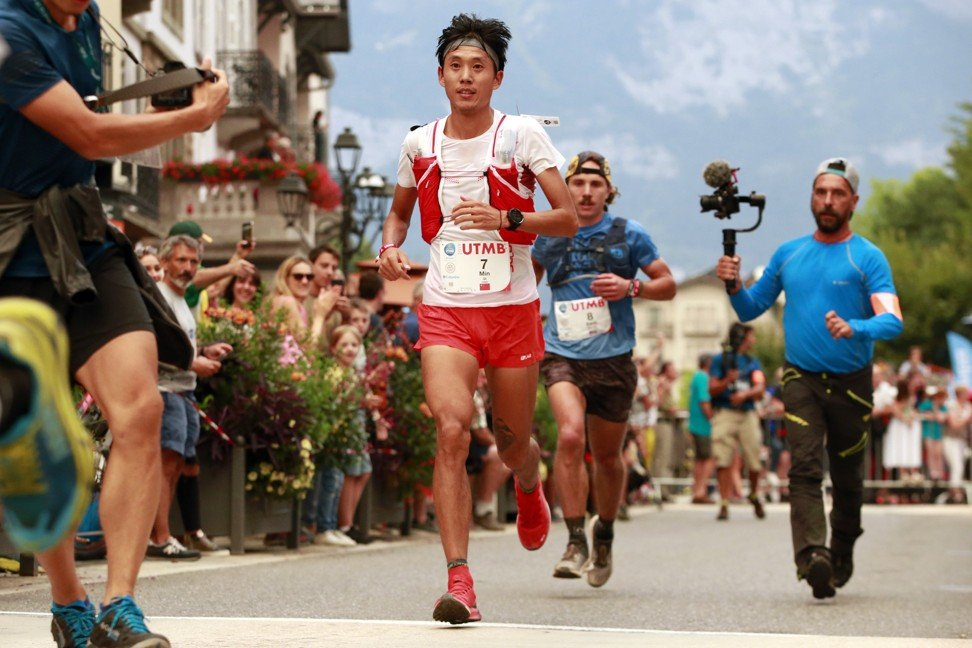 Qi Min looks light on his feat, and could jump like a salmon for a high ball. Photo: UTMB