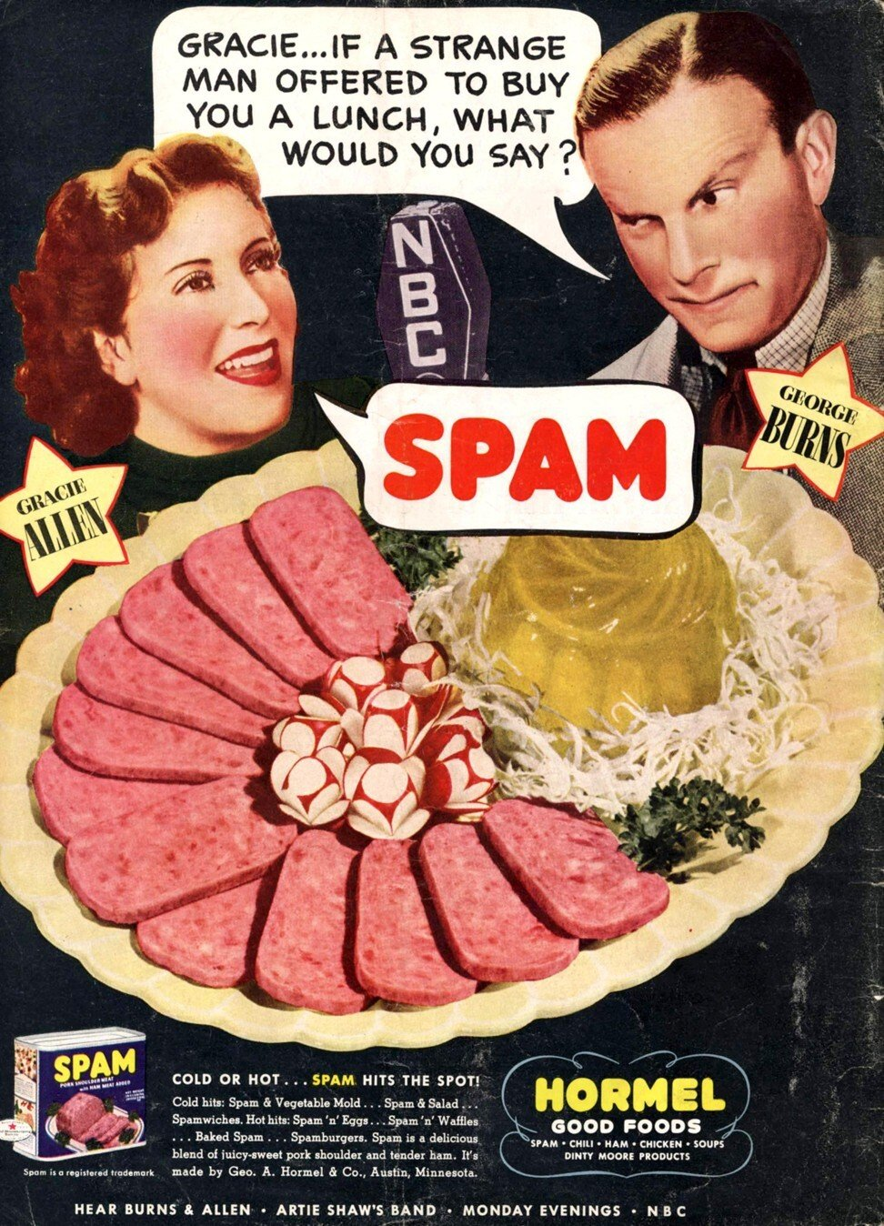 A US magazine ad in the 1940s when Spam began to take off around the world. Photo: Alamy