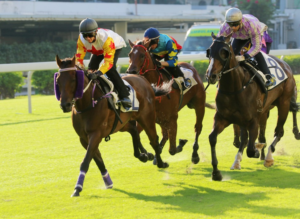 Mr Croissant (left) wins a barrier trial at Happy Valley on September 20.