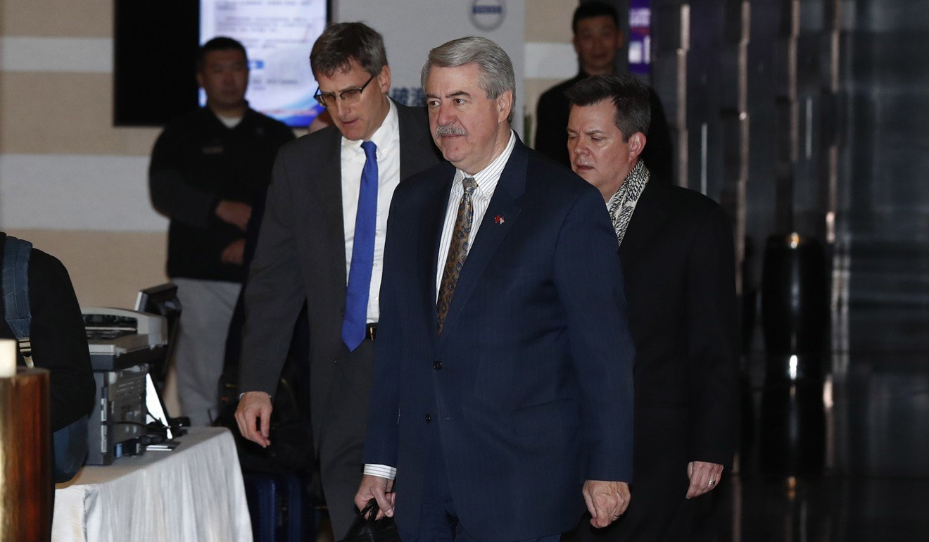 US Undersecretary for Trade and Foreign Agricultural Affairs Ted McKinney (front) walks with other delegates as they leave the Westin Hotel in Beijing at the start of trade talks between China and the US in January. Photo: EPA-EFE