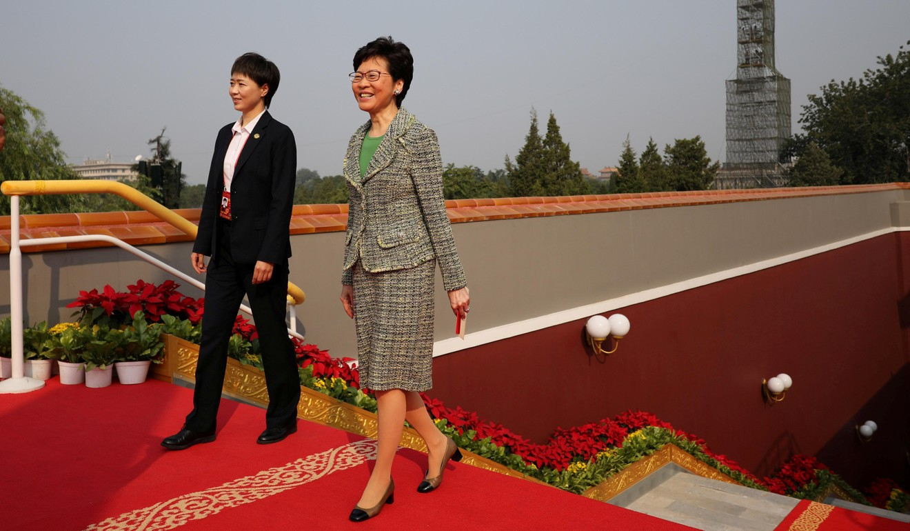 Hong Kong Chief Executive Carrie Lam arrives before the military parade in Beijing. Photo: Reuters