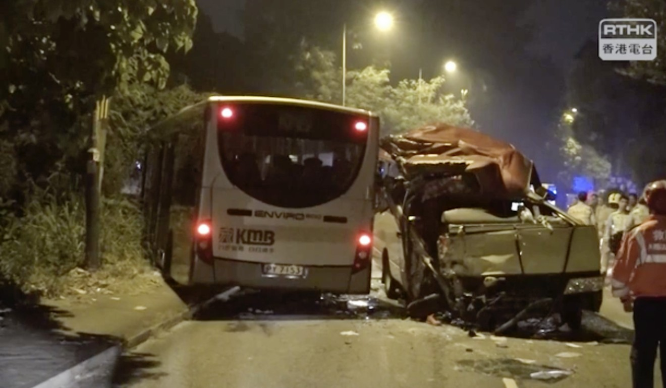 A minibus and KMB vehicle were involved in the 4am crash on Thursday. Photo: RTHK