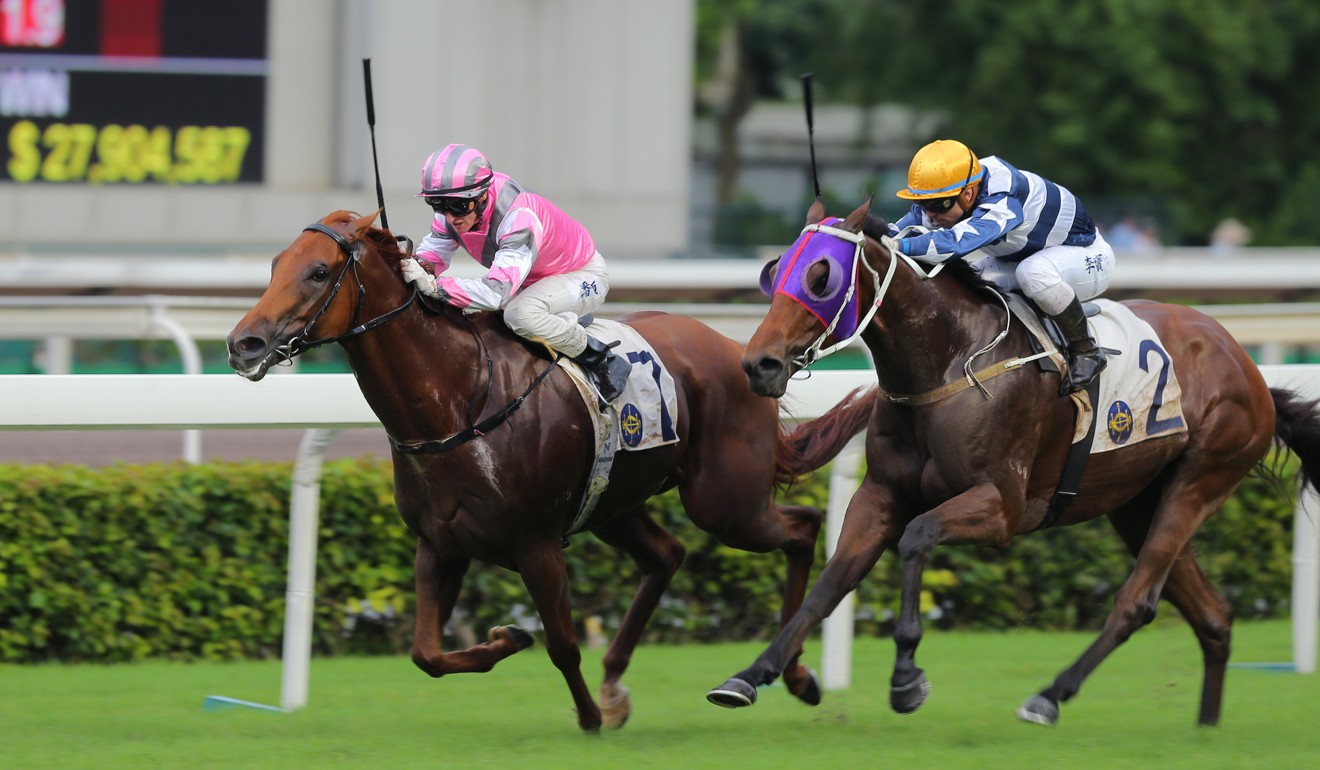 Band Of Brothers fights it out to win at Sha Tin last season.