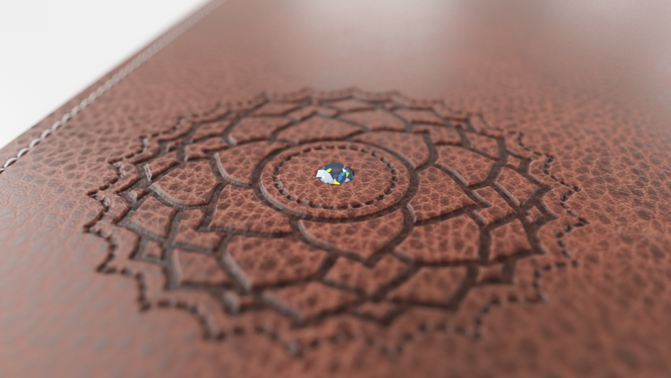 The mat is encrusted with a diamond, ruby, sapphire, etc.
