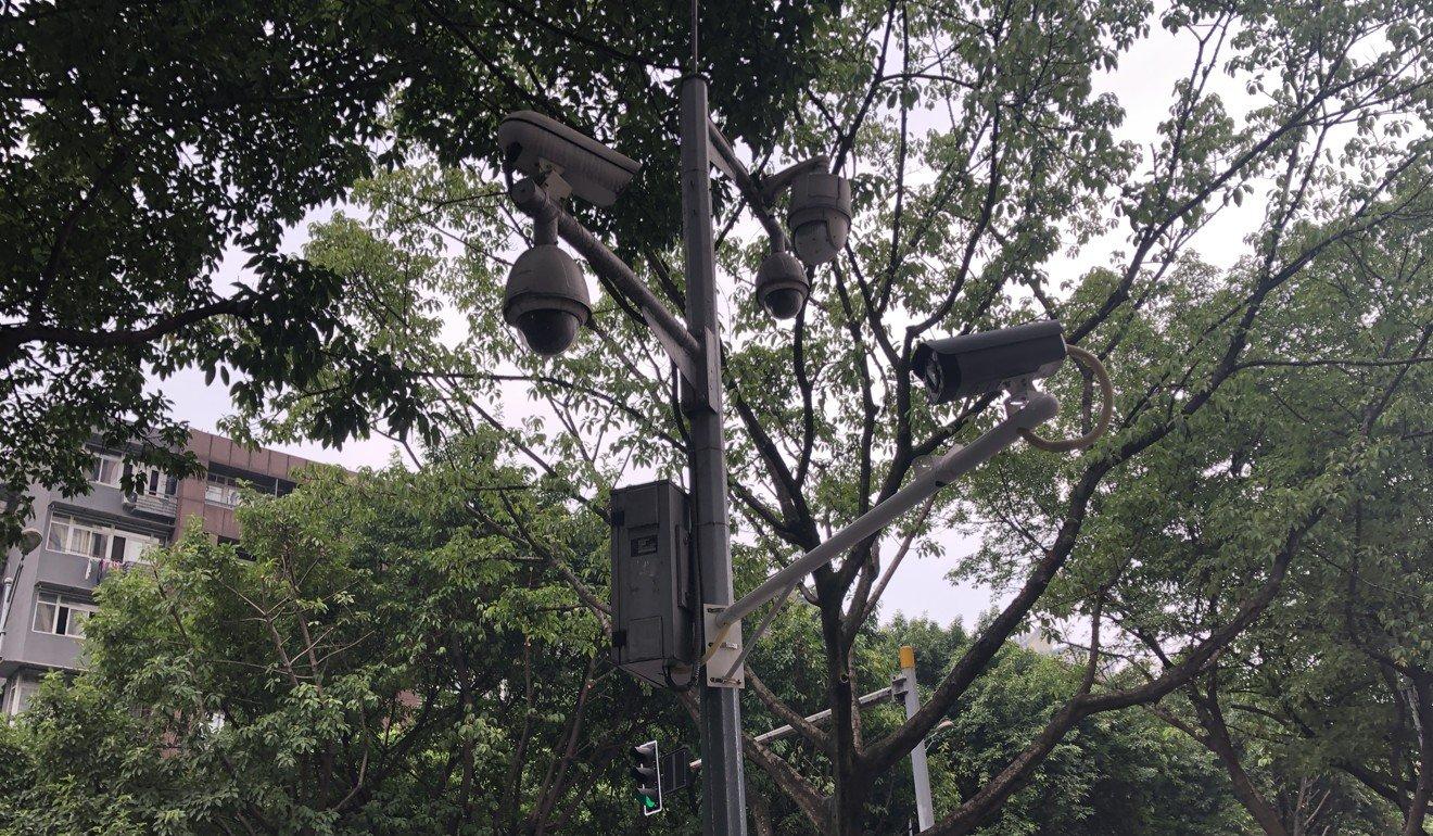 Surveillance cameras on Chongqing streets, October 2019. Photo: Jane Zhang