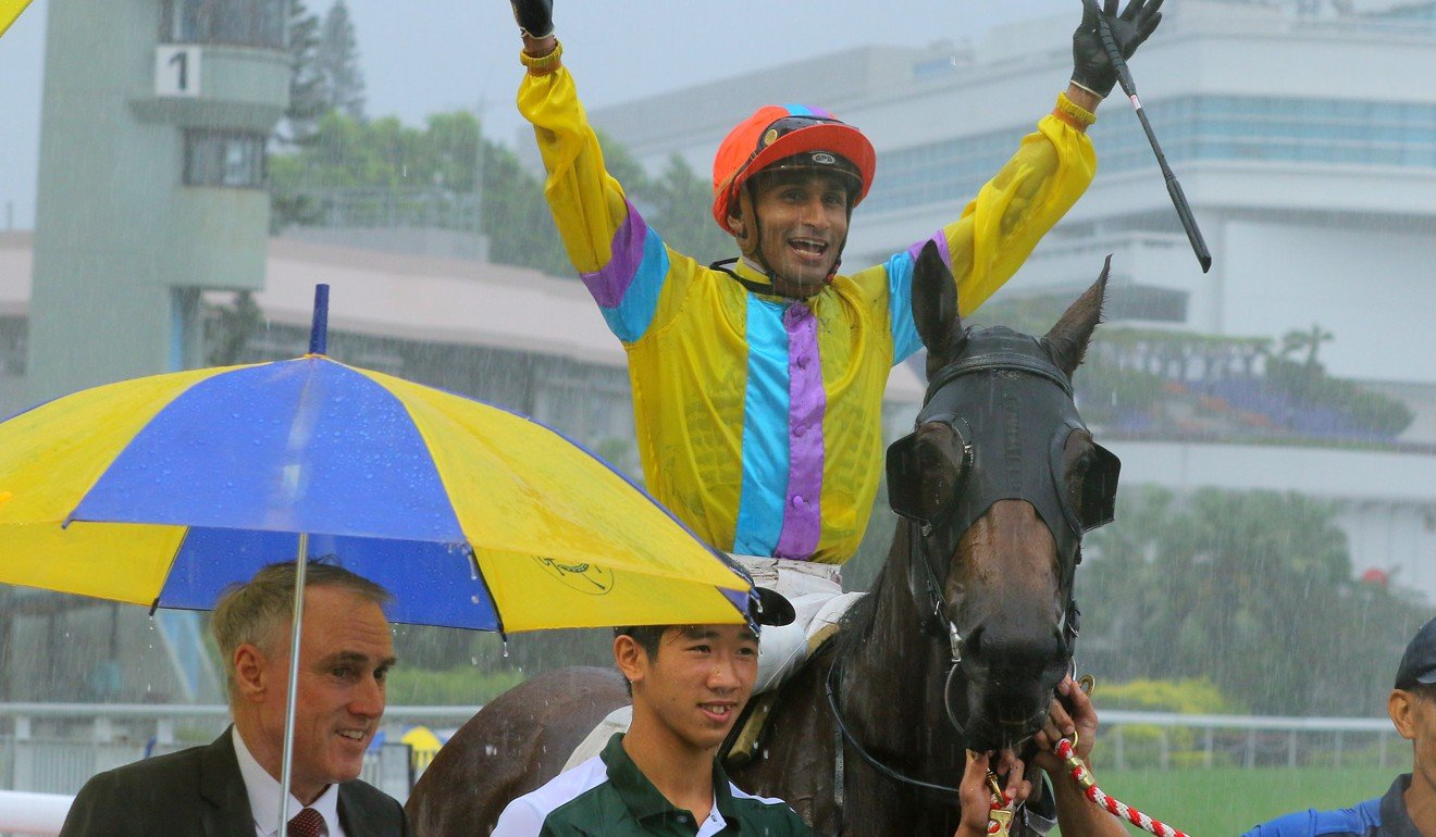Jockey Karis Teetan shares a laugh after winning on Hidden Spirit for trainer Paul O'Sullivan.