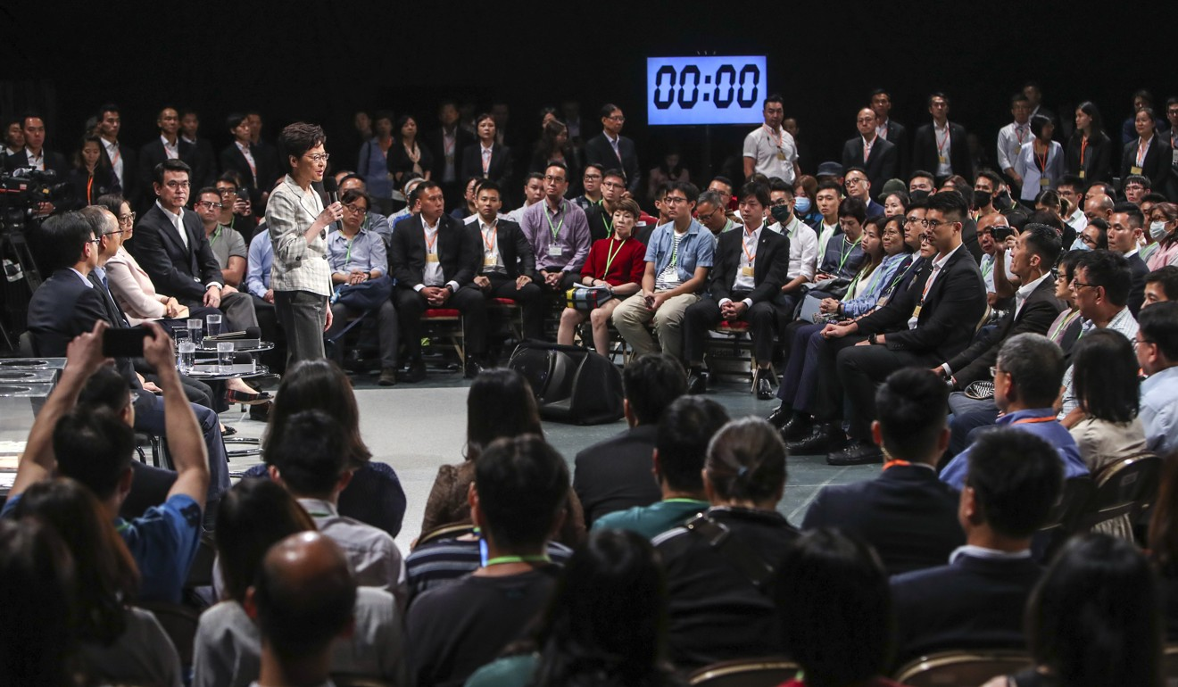 Hongkongers asked Carrie Lam questions in a public sitting of the talks held in Wan Chai on September 26. Photo: Winson Wong