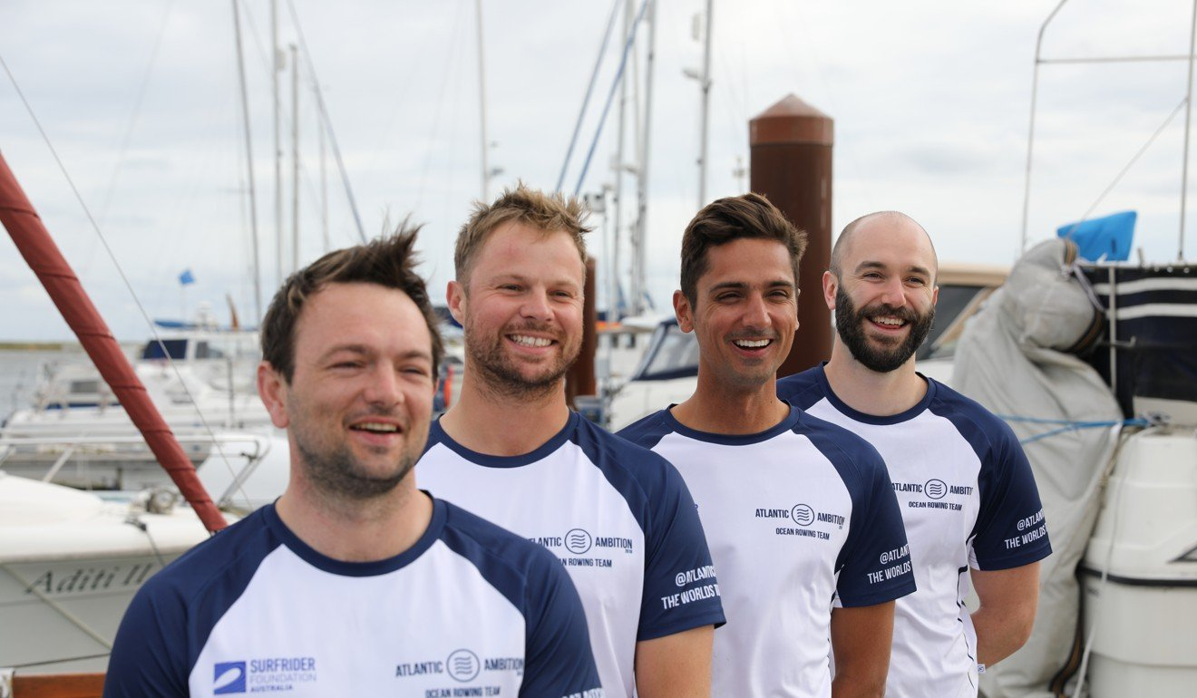 (From left) James Protherough, Ed Wilson, Jon Merotra, Bell are schoolmates determined to cross the Atlantic, even though only one had rowed before.