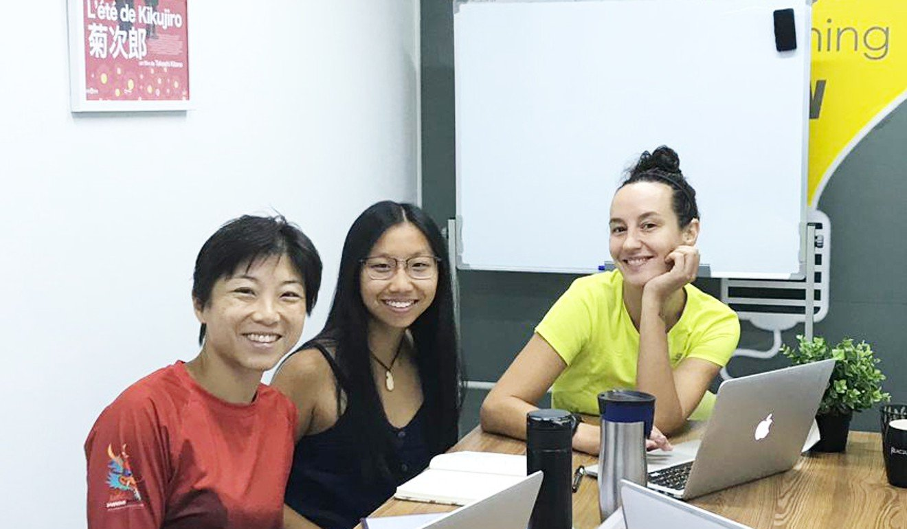 (From left) Alicia Lui, Christie Ma and illustrator Tanya Bennett, work on the book. Photo: Sporty Girl Journals