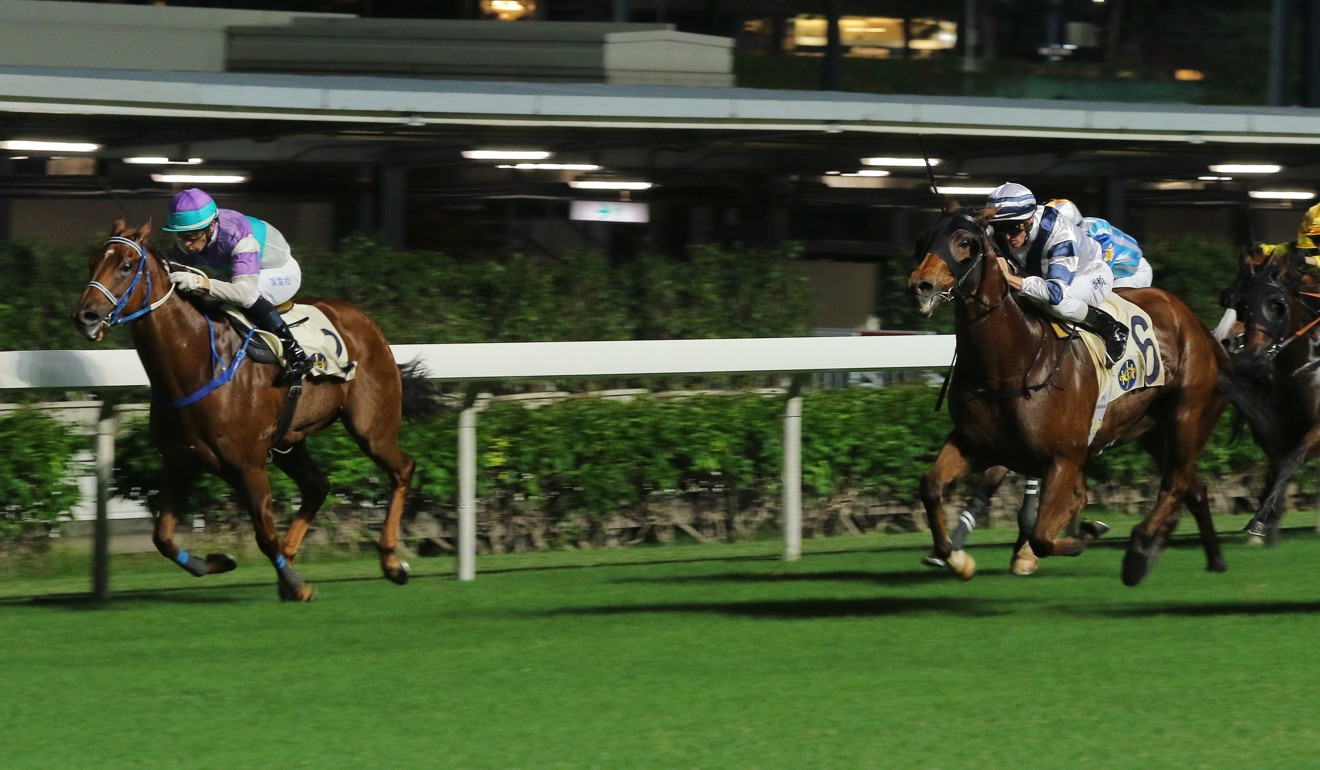 Zac Purton boots Starlot to victory at Happy Valley on Wednesday night. Photo: Kenneth Chan