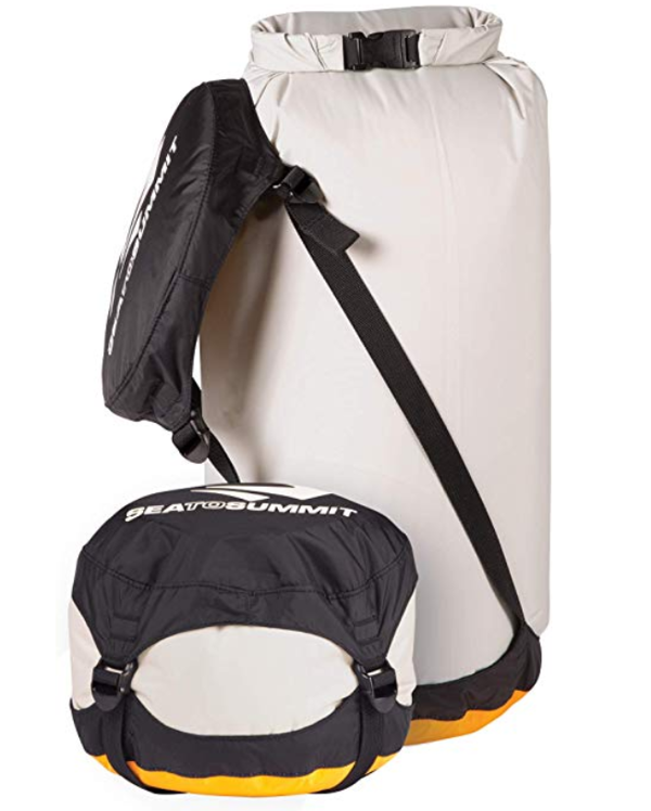 Sea to Summit dry bag compresses down. Photo: Sea to Summit