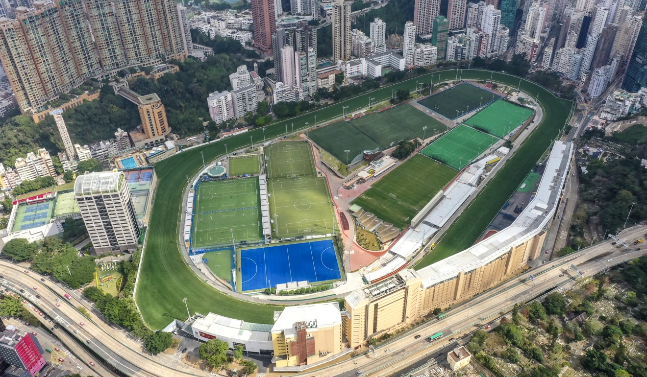 An overhead view of Happy Valley racecourse, where paint containers were found on the back straight on Wednesday night. Photo: Martin Chan