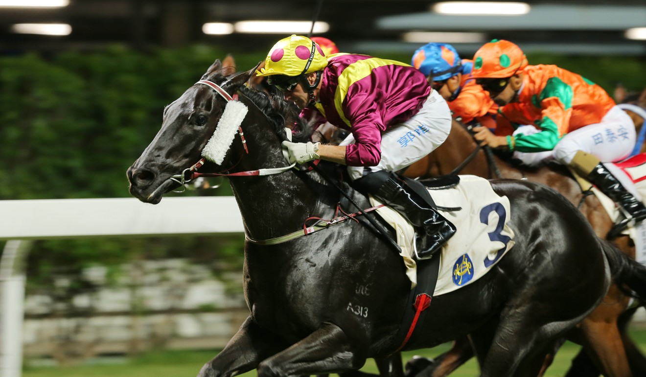 Neil Callan storms home on Happy Warrior to win at Happy Valley.