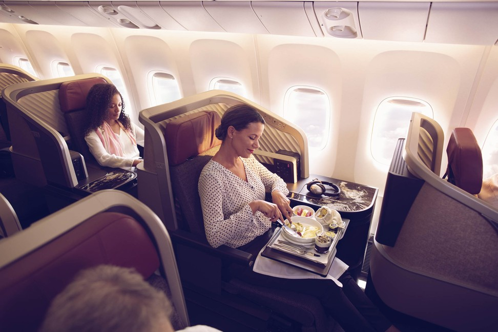 Textured backboards, granite worktops and Thompson Aero's Vantage XL seats are found on Latam's business class.