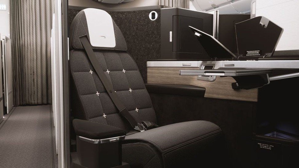Expected familiar late-grey upholstery and a reverse herringbone layout from British Airways' new business class service.