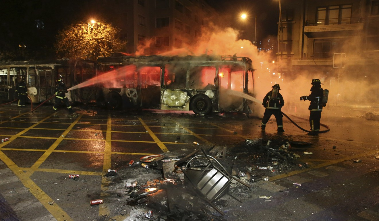 Chaos in Santiago as Chileans riot over hikes to public transport fares