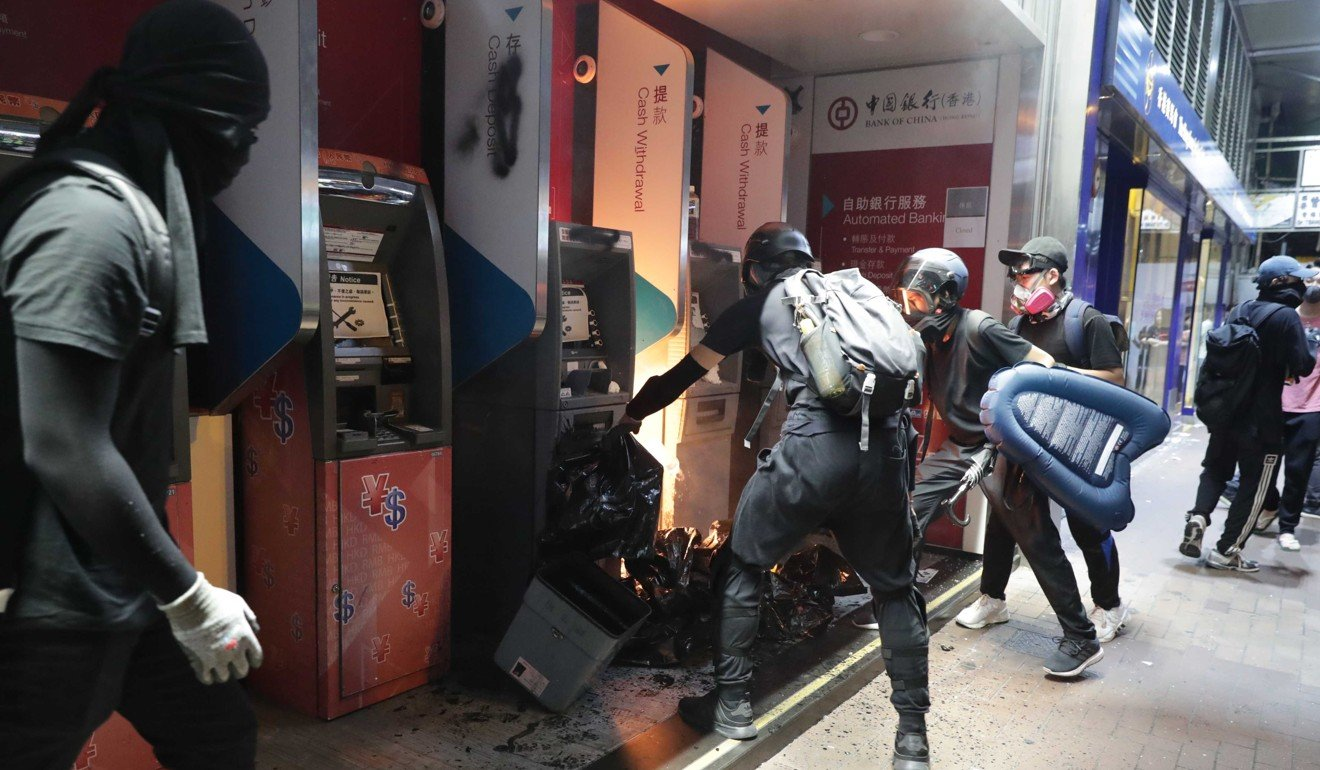 Amid Hong Kong protesters' attacks, 500 ATMs out of service for the weekend